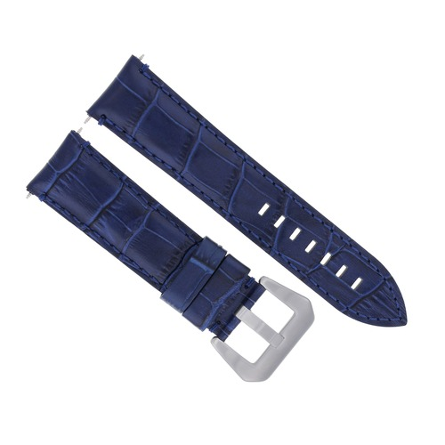 24MM LEATHER WATCH BAND STRAP FOR BREITLING NAVITIMER, CHRONOMAT BENTLEY BLUE