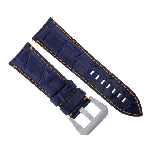 24MM LEATHER WATCH BAND STRAP FOR BREITLING NAVITMER, COLT CHRONOMAT BLUE OS