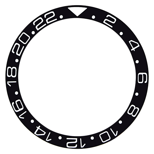 BEZEL INSERT CERAMIC FOR 40MM INVICTA 8926 GMT PRO DIVER WATCH SILVER FONT BLACK