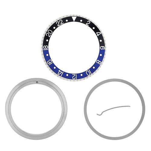 RETAINING RING  BEZEL & INSERT FOR ROLEX GMT BATMAN 16700 16710 16718 BLACK/BLUE