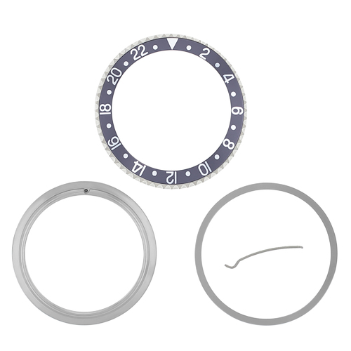 RETAINING RING BEZEL & INSERT FOR ROLEX GMT I II 16700 16710 16718 16760 GREY