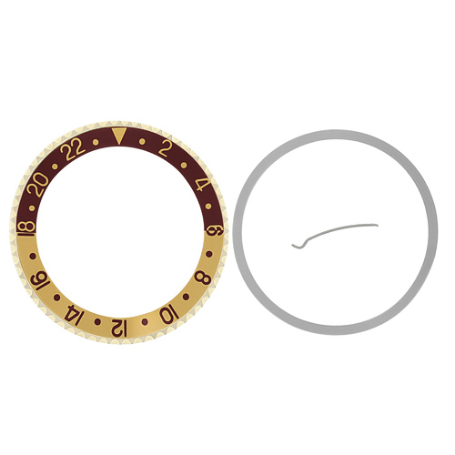 BEZEL & INSERT FOR ROLEX ROOT BERR GMT 18KY REAL GOLD 16700 16710 16753 BROWN /G