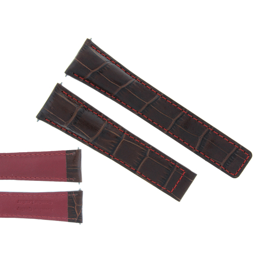 20MM LEATHER WATCH BAND STRAP CLASP FOR TAG HEUER CARRERA F1 BROWN RED STITCH
