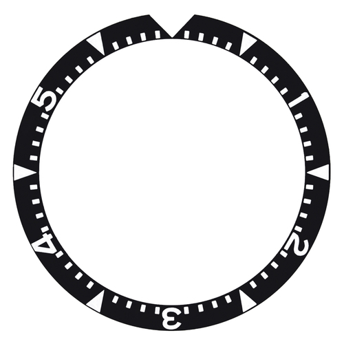REPLACEMENT BEZEL INSERT BLACK WITH TRAINGLE FOR WATCH 36.40MM X 30.30MM