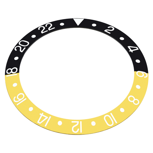 REPLACEMENT BEZEL INSERT BLACK/GOLD SILVER # FOR WATCH 37.80MM X 30.20MM