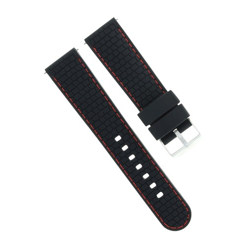 22MM RUBBER DIVER BAND STRAP FOR MENS FERRARI WATCH BLACK RED STITCH TOP QUALITY