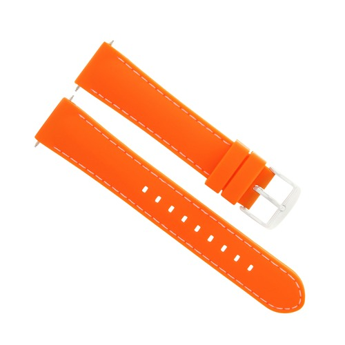 22MM SOFT RUBBER DIVER BAND STRAP FOR FERRARI WATCH ORANGE WHITE STITCHING