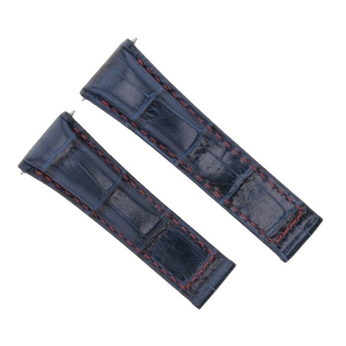 LEATHER STRAP FOR ROLEX DAYTONA 16519 116519 116520 116523 BLUE RED STITCH SHORT