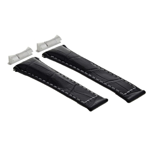LEATHER BAND STRAP FOR ROLEX DAYTONA 116519 + END PIECE (LUGS) BLACK WS SHORT