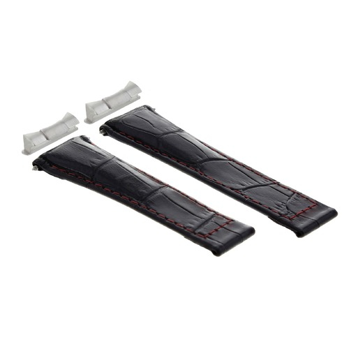 LEATHER BAND STRAP FOR ROLEX DAYTONA 16518 + END PIECE (LUGS) BLACK RED ST SHORT