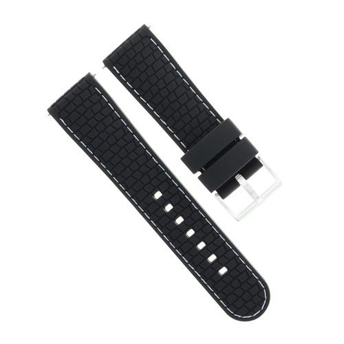 22MM RUBBER WATCH BAND STRAP FOR SEIKO SKX007, SKX009, SKX175, SKX176 BLACK WS