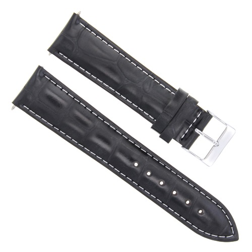 19MM NEW LEATHER WATCH STRAP BAND FOR JAEGER LECOULTRE WATCH BLACK WHITE STITCH