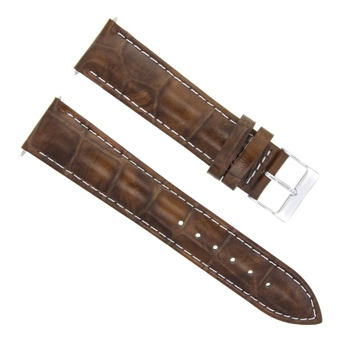 24MM LEATHER WATCH BAND STRAP FOR BULOVA ACCUTRON WATCH LIGHT BROWN WHITE STITCH