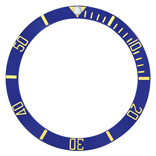 BEZEL INSERT CERAMIC FOR ROLEX SUBMARINER SAPPHIRE 16808, 16613 ENGRAVED BLUE GF
