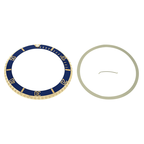 BEZEL & INSERT FOR ROLEX SUBMARINER SERTI 18K 16613 REAL GOLD BLUE GOLD FONT