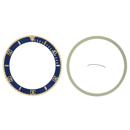 BEZEL & INSERT FOR ROLEX SUBMARINER SERTI 18K 16613 REAL GOLD BLUE GOLD FONT