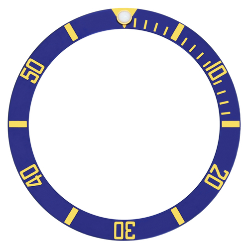 BEZEL INSERT ALUMINUM FOR ROLEX SUBMARINER  BLUE GOLD FONT 16803-2 16800 16818