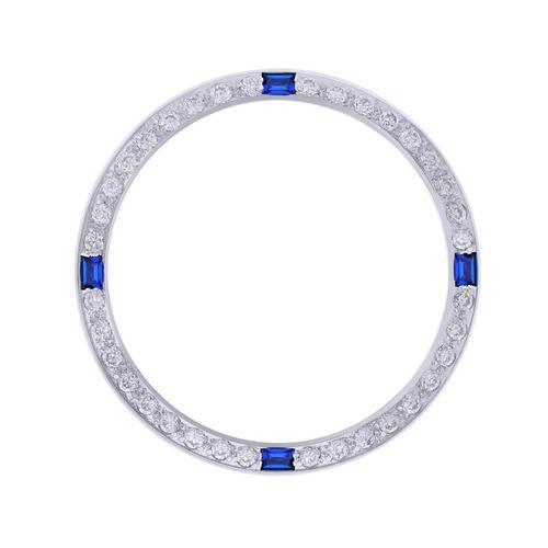 CREATED DIAMOND SAPAHIRE BEZEL FOR 34MM TUDOR DATE PRINCE WHITE