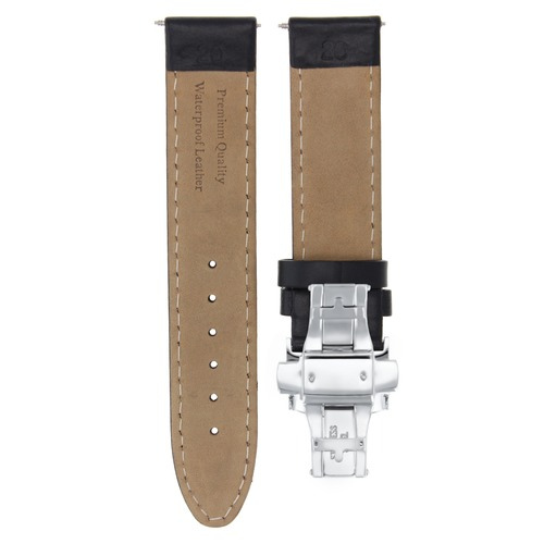20MM SMOOTH LEATHER WATCH BAND STRAP WATERPROOF DEPLOY CLASP FOR ROLEX BLACK OS
