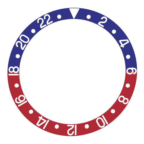 BEZEL INSERT FOR 44MM ALPHA GMT DIVER AUTOMATIC WATCH BLUE/RED SILVER FONT