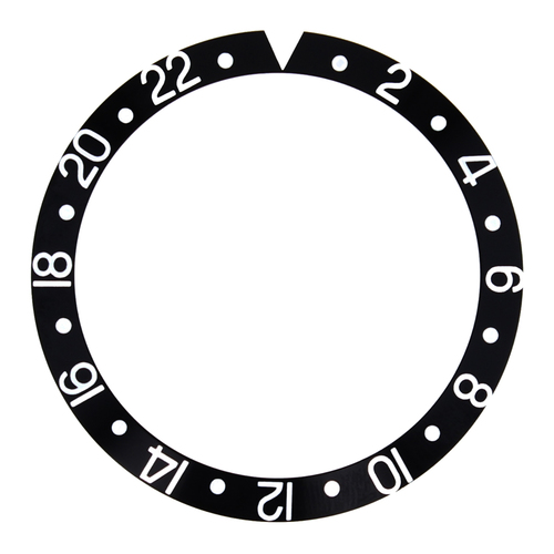 BEZEL INSERT FOR 44MM ALPHA GMT DIVER AUTOMATIC WATCH BLACK SILVER FONT