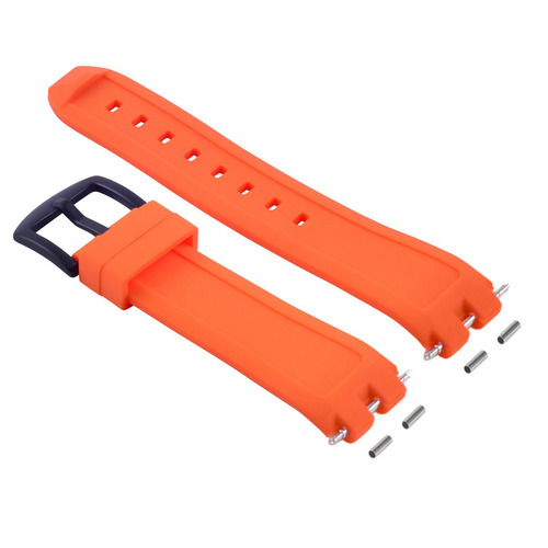 SILICONE RUBBER WATCH BAND STRAP FOR PEBBLE WATCH PVD BLACK BUCKLE ORANGE