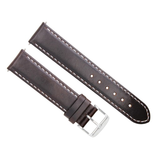 20MM SMOOTH LEATHER STRAP BAND FOR BREGUET WATERPROOF DARK BROWN WHITE STITCHING
