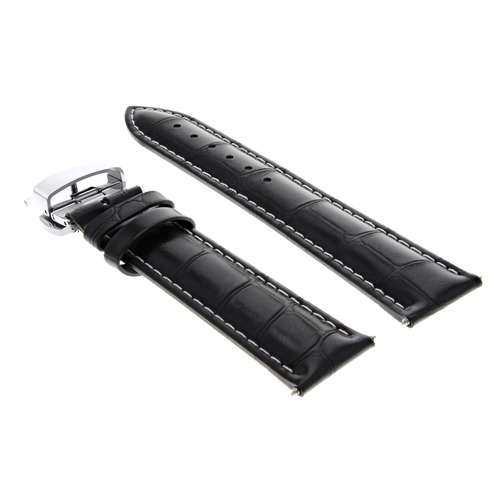 18MM LEATHER WATCH BAND STRAP DEPLOYMENT CLASP BRACELET FOR CHOPARD BLACK WS