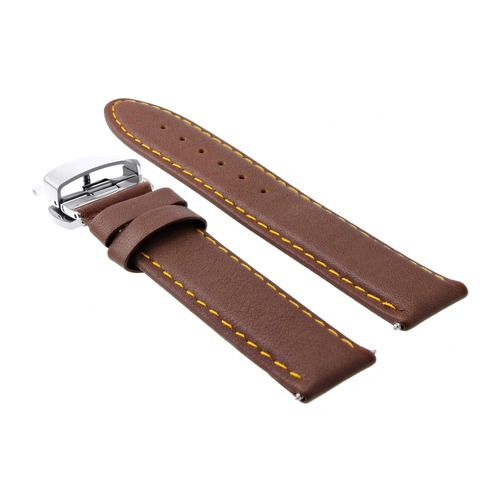 20MM LEATHER WATCH STRAP SMOOTH BAND DEPLOY CLASP FOR CHOPARD TAN L/BROWN OS