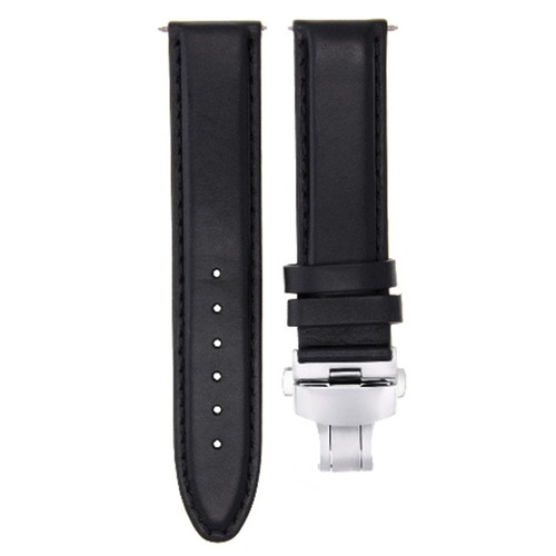 22MM SMOOTH LEATHER WATCH BAND STRAP FOR CHOPARD WATCH  DEPLOYMENT CLASP BLACK