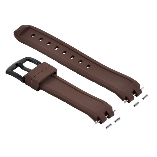 SILICONE RUBBER WATCH BAND STRAP FOR PEBBLE PVD WATCH BLACK BUCKLE BROWN