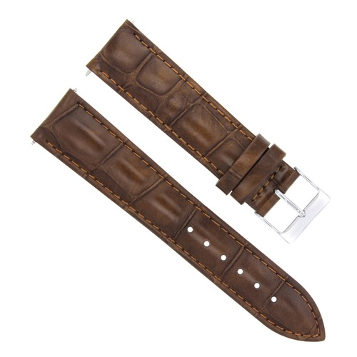 22MM LEATHER STRAP BAND FOR 43MM MAURICE LACROIX PONTOS PT6288 WATCH LIGHT BROWN