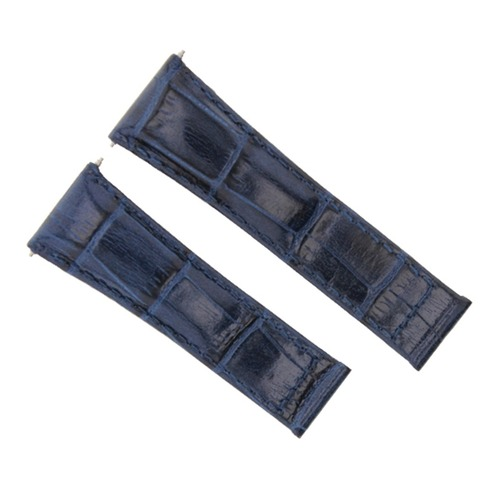 LEATHER WATCH BAND STRAP FOR ROLEX DAYTONA 16518 116519 116520 116523 BLUE SHORT