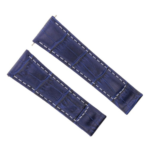 20MM LEATHER WATCH BAND STRAP FOR ROLEX DAYTONA 116519 116520 BLUE WS SHORT