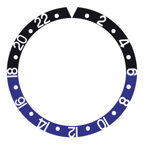 BATMAN BEZEL INSERT FOR ROLEX GMT II 16700,16710,16713,16718, 16760 BLACK/BLUE