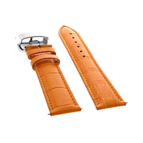 20MM LEATHER WATCH BAND STRAP FOR ROLEX CELLINI DEPLOYMENT CLASP DATE ORANGE