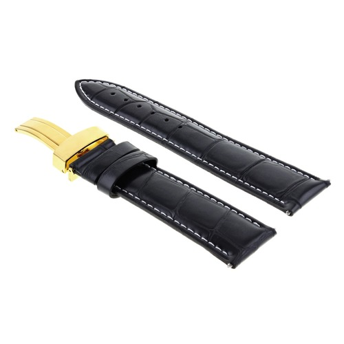 19MM LEATHER WATCH BAND STRAP DEPLOYMENT CLASP FOR 34MM ROLEX DATE BLACK GOLD