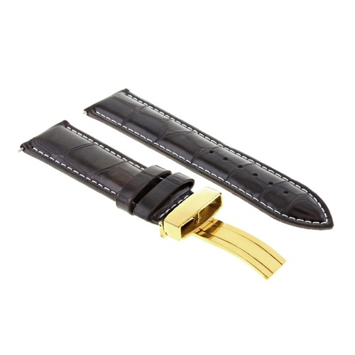20MM LEATHER WATCH BAND STRAP FOR ROLEX DATEJUST 16013 16610 16234 D/BROWN GOLD