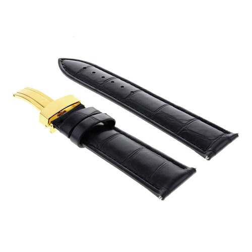 20MM LEATHER WATCH BAND STRAP BAND CLASP FOR ROLEX DATE DATEJUST BLACK GOLD