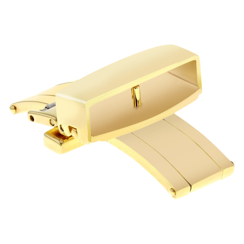 16MM DEPLOYMENT STRAP BUTTERFLY BUCKLE CLASP FOR BREITLING LEATHER BAND GOLD