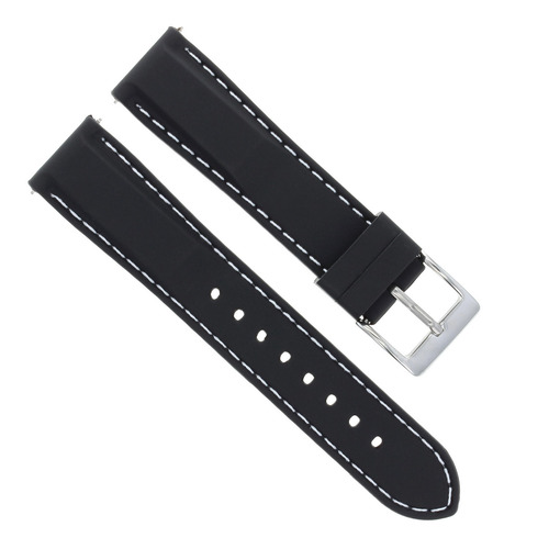 20MM SOFT RUBBER DIVER BAND STRAP FOR INVICTA RUSSIAN 7436 BLACK WHITE STITCHING