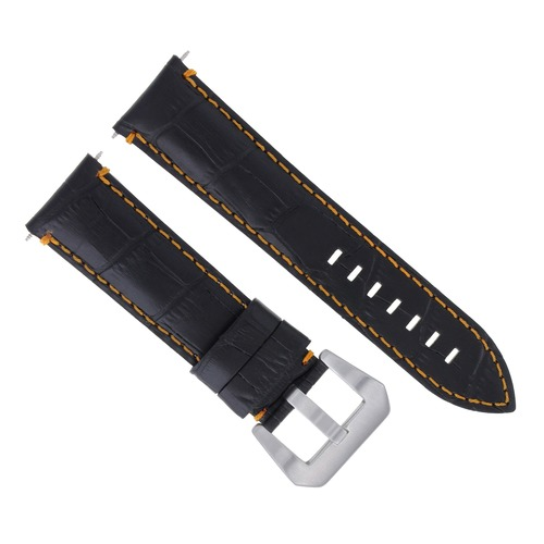 24MM LEATHER WATCH BAND STRAP FOR ANONIMO WATCH BLACK ORANGE STITCHING