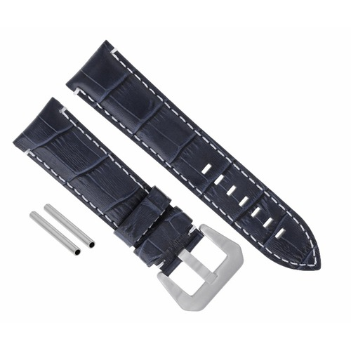 24MM LEATHER BAND WATCH STRAP FOR LUM TEC M51 M47 M44 M43 M33 BLACK WHITE STITCH