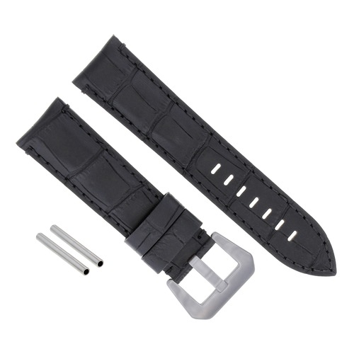 24MM GENUINE LEATHER WATCH BAND STRAP FOR LUM TEC M51 M47 M44 M43, M33 BLACK