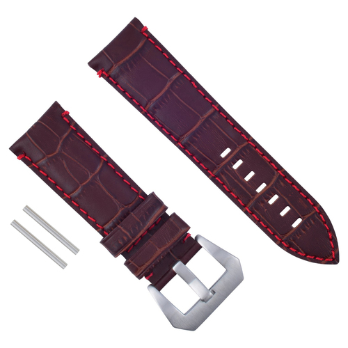24MM GENUINE LEATHER WATCH BAND STRAP FOR LUM-TEC WATCH BROWN RED STITCH