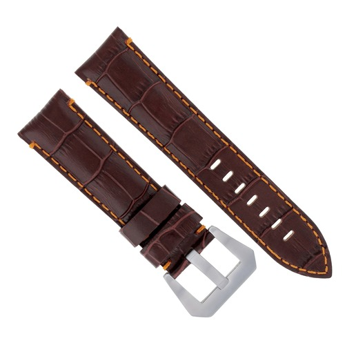 24MM LEATHER WATCH BAND STRAP FOR ANONIMO WATCH BROWN ORANGE STITCH