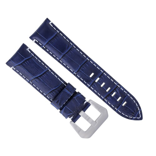 24MM GENUINE LEATHER WATCH BAND STRAP FOR LUM TEC WATCH BLUE WS #9