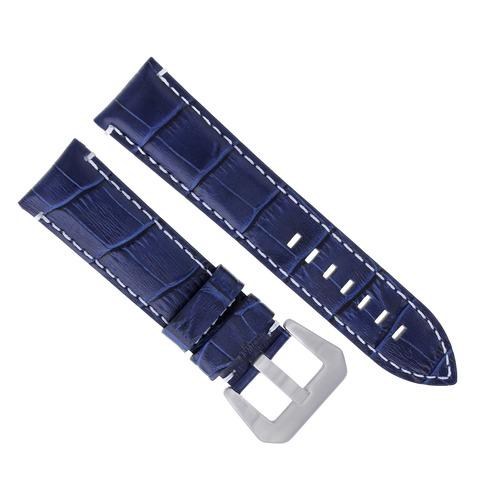24MM GENUINE LEATHER WATCH BAND STRAP FOR LUM TEC G7 QUARTZ BLUE WHITE STITCH