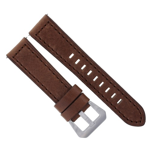 24MM LEATHER WATCH STRAP BAND FOR LUM TEC M51, M47, M44 M43, M3 LONG D/BROWN