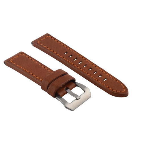 24MM COW LEATHER WATCH BAND STRAP FOR LUM TEC  M51, M47, M44,  M43, M33 TAN OS